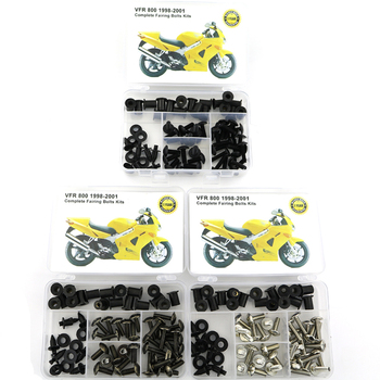 For Honda VFR800 1998-2001 Motorcycle Complete Full Fairing Bolts Kit Bodywork Screws Nut Side Covering Screws Bolts Steel 5pcs 6mm cnc motorcycle fairing body work bolts screws for ktm 950 adventures 03 04 05 06 400 xc w rc390 rc8