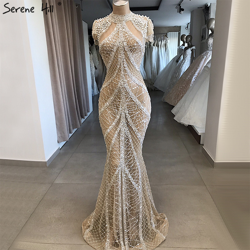 Champagne High Collar Sexy Evening Dresses Mermaid Sequined Short Sleeves Luxury Evening Gowns Design 2019 Serene Hill LA70196