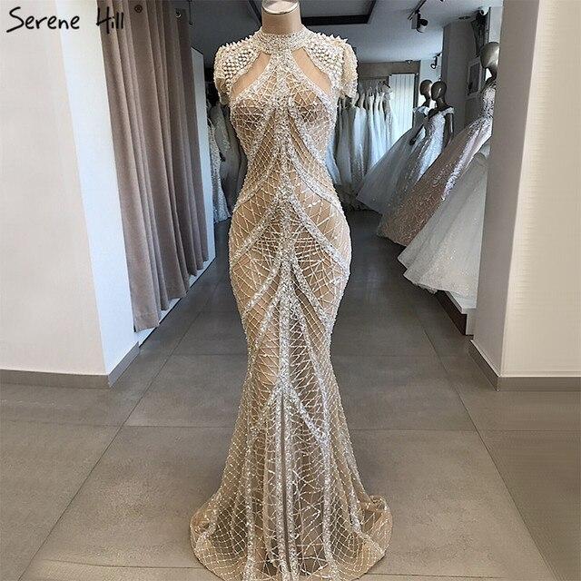 Şampanya yüksek yaka seksi abiye Mermaid payetli kısa kollu lüks abiye tasarım 2020 Serene tepe LA70196