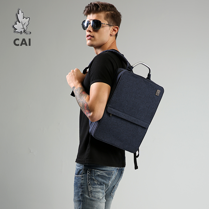 CAI Backpack Book-Bags Laptop Slim-Bag Business Travel Office Fashion-Style Waterproof title=