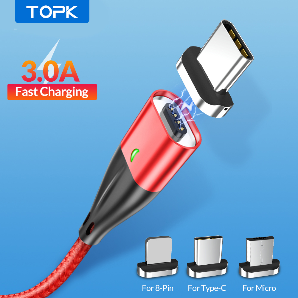 TOPK AM61 3A Fast Charging Magnetic Cable, Mobile Phone Micro USB Cable & USB Type C Cable for iPhone Samsung Xiaomi HTC LG|Mobile Phone Cables|   - AliExpress