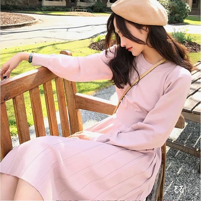 Korrean Sweater Dress Fashion Women Knitted Dresses Elegant Women High Waist Pleated Sweaters Dress Winter Women Dresses Vintage 28