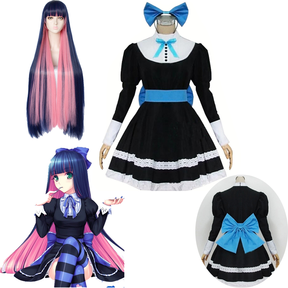 Panty & Stocking With Garterbelt Heroine Anarchy Stocking Black Dress Cosplay Costume Women Lolita Maid Suits Party Uniform