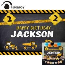 Allenjoy 생일 축하 건설 파티 배경 덤프 트럭 사진 스튜디오 비닐 배경 화면 소년 이벤트 축하 Photocall