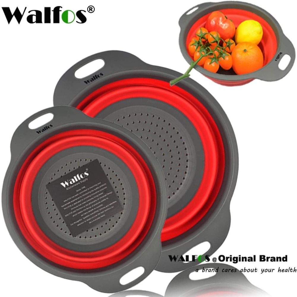 Food Grade Silicone Colanders Strainers Set of 2 7