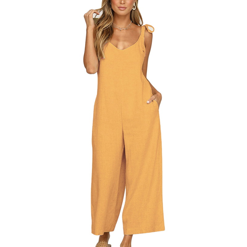 2019 New Women Jumpsui Backless Sexy Long Pant Jumpsuit Playsuit Loose Bodysuit Open Back Sleeveless Sling V-neck Tie Wide-leg
