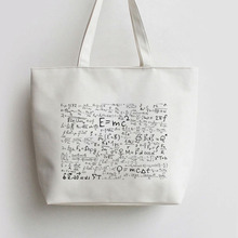 цена на Mathematical formulas Horizontal  Canvas Tote bag Cartoon Shopping bags Shoulder Reusable Bag AN402 AN372