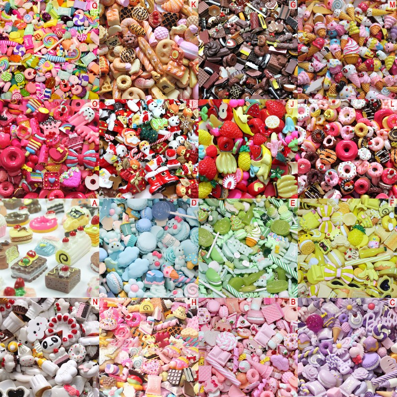 Mix Kawaii Food, Cute Unicorns, Resin Flatback Cabochons For Phone Case Deco, Scrapbooking, DIY Lucky Bag