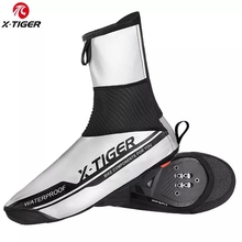 X TIGER Reflective Waterproof Cycling Shoe Cover Winter Road Bike Cycling Overshoes Warm Fleece Windproof MTB Bicycle Shoe Cover