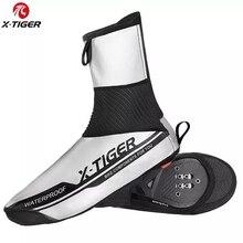 X TIGER reflexivo à prova dwinter água ciclismo capa de sapato inverno bicicleta de estrada ciclismo overshoes velo quente à prova vento mtb sapato capa