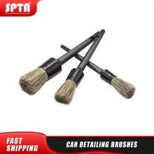 Spta 3個プラスチック/木製ハンドルの車のディテールブラシ超高密度ソフト毛インテリアリムホイールクリーニング
