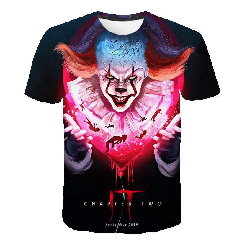 Horror Movie It Penny Wise Clown Joker 3D Print Tshirt Men/Women Hip Hop Streetwear Tee T shirt 90s Boys Cool Clothes Man