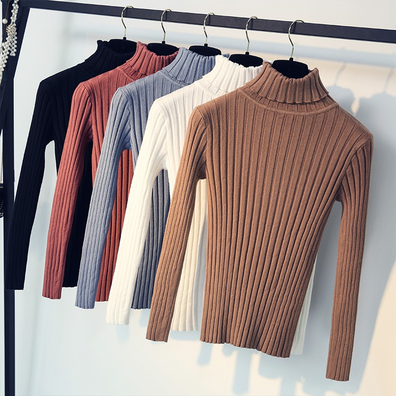 Women Turtleneck Knitted Striped Slim Sweater Autumn Winter Long Sleeve Solid Sweater Women Fashion  Pullover Sweater Female