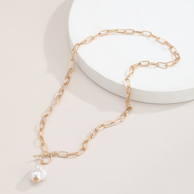 lovely rectangle chain with pearl drop necklace 4