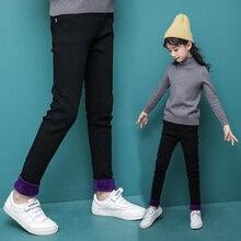 Girls black jeans pant velvet pants 2019 New design for children girls leggings children clothes 6 7 8 9 12 years DX03211