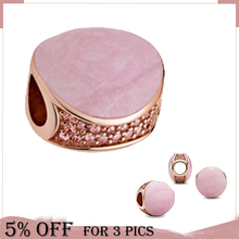 2021 Valentine's Day 925 Sterling Silver Bead Pink Slip Sparkling Side Charms Fit Original Pandora Bracelets Women Jewelry Gift