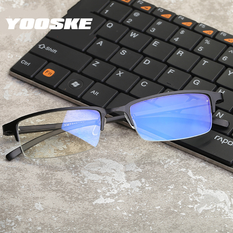 YOOSKE Anti Blue Light Glasses Men Gaming Computer Eyewear Male Business Optical Frame Mens Spectacle Frames
