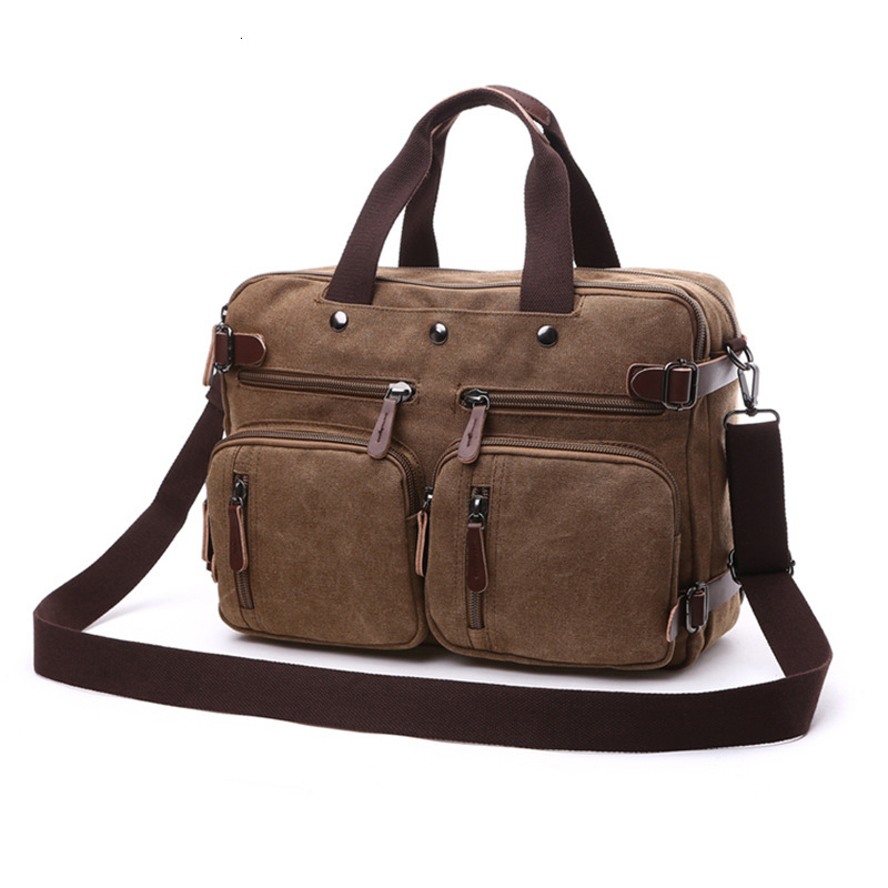 Canvas Multifunction Messenger Shoulder Bag Solid Briefcase Suitcase Card Pocket For Men Women Office Travel Outdoor Vintage Bag