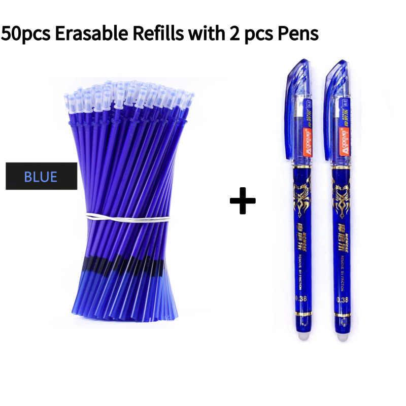 2 + 50 sztuk/zestaw 0.5mm niebieski długopis żelowy z czarnym atramentem kasowalna Refill Rod zmazywalny długopis zmywalny uchwyt artykuły szkolne/biurowe długopis z żelowym wkładem
