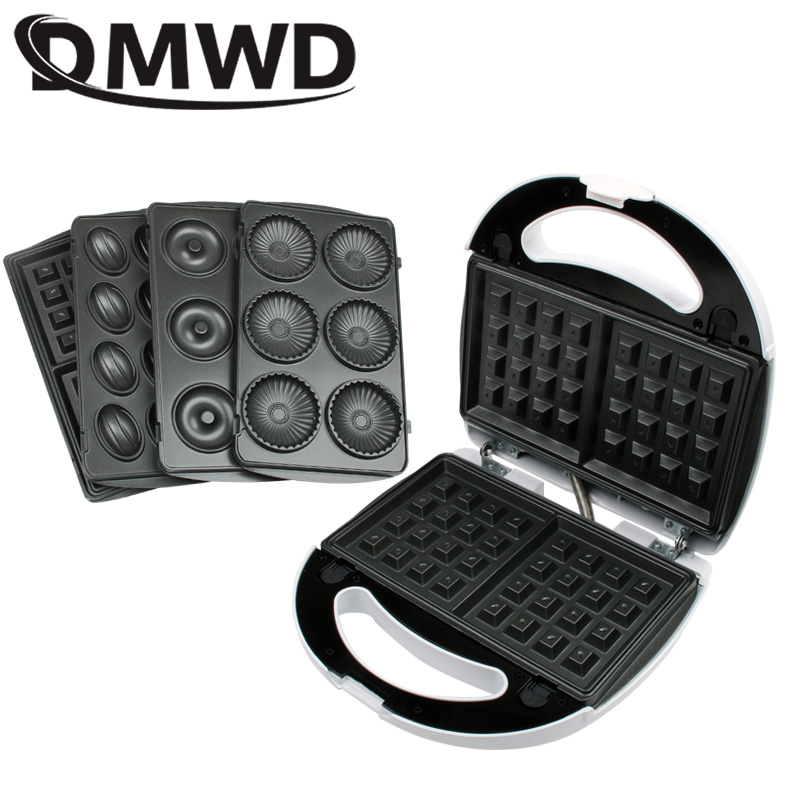 DMWD Multifunction Electric Egg Waffle Maker Muffin Pancake Donut Walnut Cake Machine Iron Baking Pan 4 Changeable Plates EU US