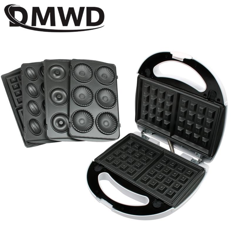 DMWD Multifunction Electric Egg Waffle Maker Muffin Pancake Donut Walnut Cake Machine Iron Baking Pan 4 Changeable Plates EU US