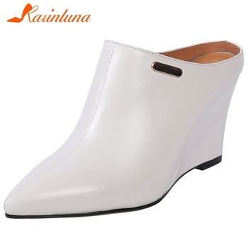 Karinluna New Fashion 2020 Genuine Leather Pointed Toe Shoes Woman Pumps Mules Slip On Wedge High Heels Mules Lady Pumps Women