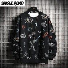 SingleRoad Crewneck 스웨트 남성 2020 Anime Graffiti Sweatshirts 힙합 하라주쿠 Japanese Streetwear Black Hoodie Hoodies Men