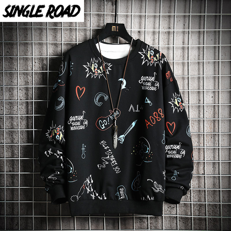 SingleRoad Crewneck Sweatshirt Men 2020 Anime Graffiti Sweatshirts Hip Hop Harajuku Japanese Streetwear Black Hoodie Hoodies Men