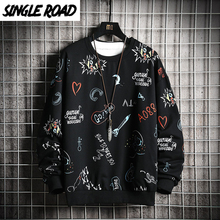 SingleRoad Sudadera de cuello redondo para hombre, sudadera grafiti de Anime, Hip Hop, Harajuku, ropa informal japonesa, Sudadera con capucha negra, 2020