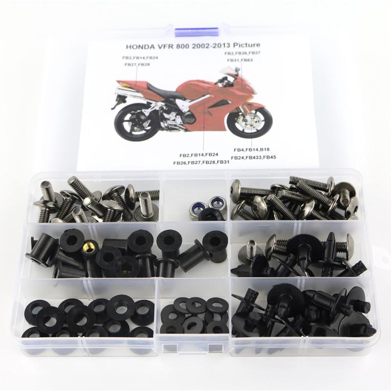 Подходит для Honda VFR800 VFR 800 2002-2013 обтекатель мотоцикла полный обтекатель Болты Комплект зажимы гайки винта Сталь