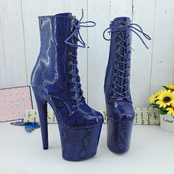 Leecabe Dark Blue snake 20CM/8inches Pole dancing shoes High Heel platform Boots closed toe Pole Dance boots jialuowei 20cm heel snake print hologramlace up thigh high pole dance platform faishion boots