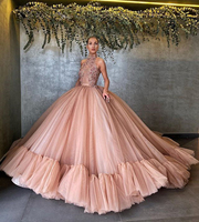 Long Evening Dresses 2020 Exquisite Beaded Flowers See Through Top High Neck Puffy Ball Gown Women Formal Gowns Abendkleider