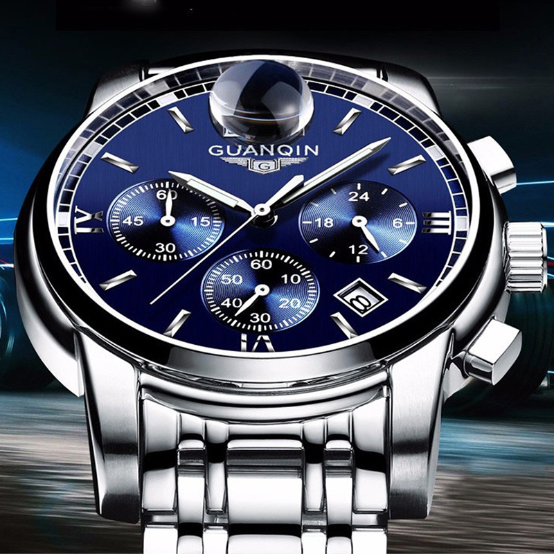 Image 5 - GUANQIN NEW Relogio Masculino Mens watches Top Brand Luxury Quartz business Chronograph Watch Swimming Wristwatch relojes hombre-in Quartz Watches from Watches