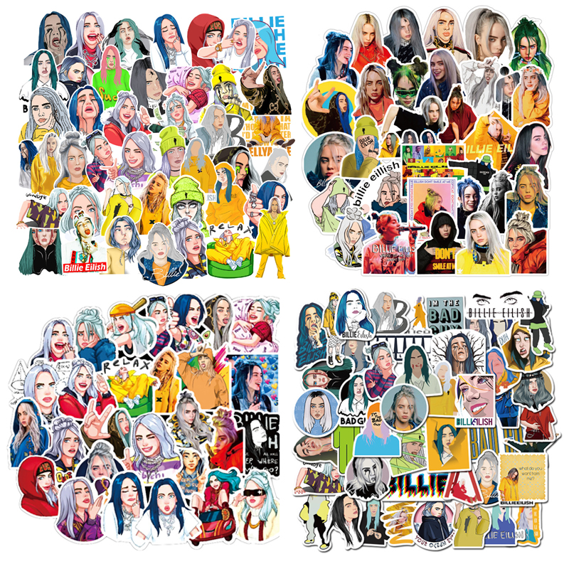 4 Styles NEW Billie Eilish Cartoon Stickers Skateboard Fridge Snowboard Guitar Motorcycle Laptop Sticker Classic Toy F5