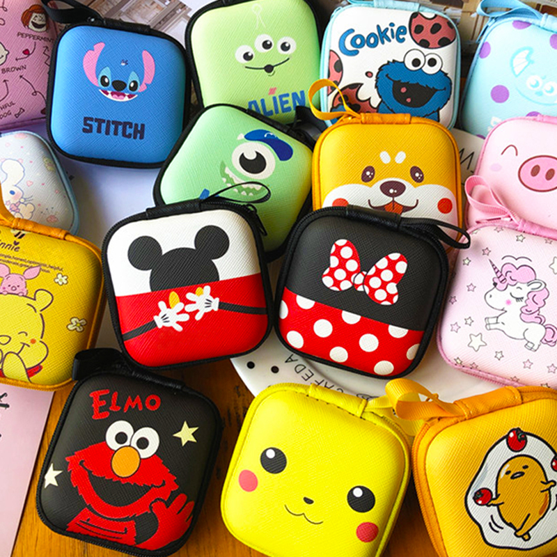 Cartoon Mini Zipper Hard Headphone Case Earphone Case Box Storage Bag Protective USB Cable Organizer Portable Earbud Accessories title=
