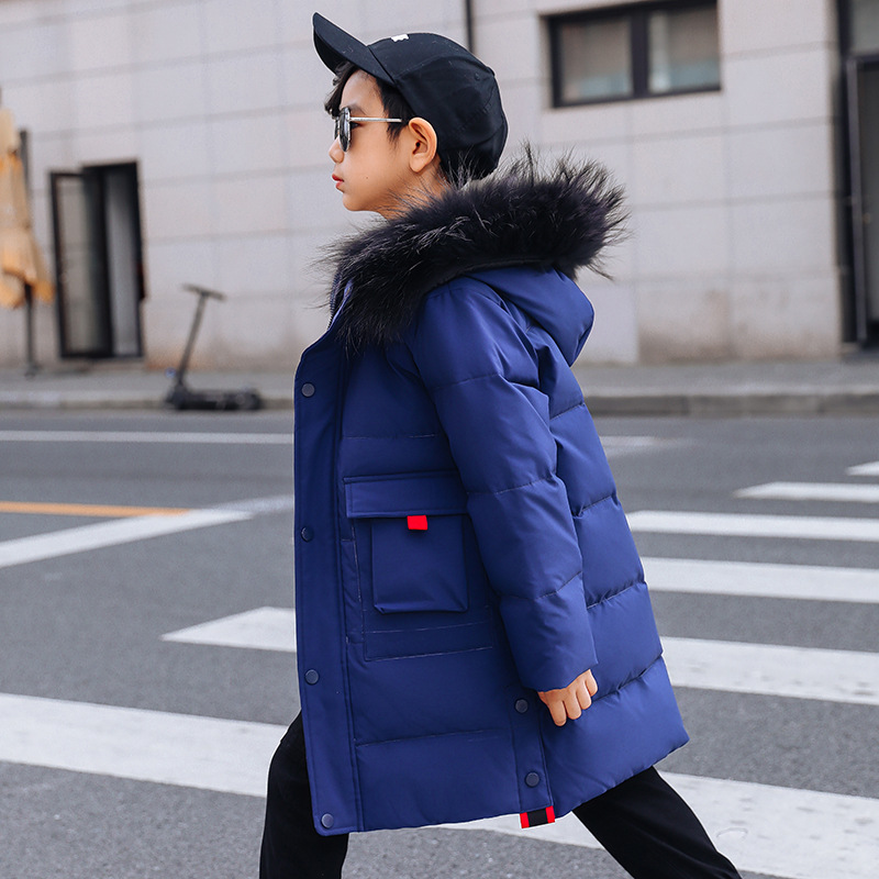 Image 5 -  30 Degree Thick Warm Down Jackets Winter Boys Duck Down Coats Children Natural Fur Long Outerwear Kids Hooded Clothes 7 12 year-in Down & Parkas from Mother & Kids