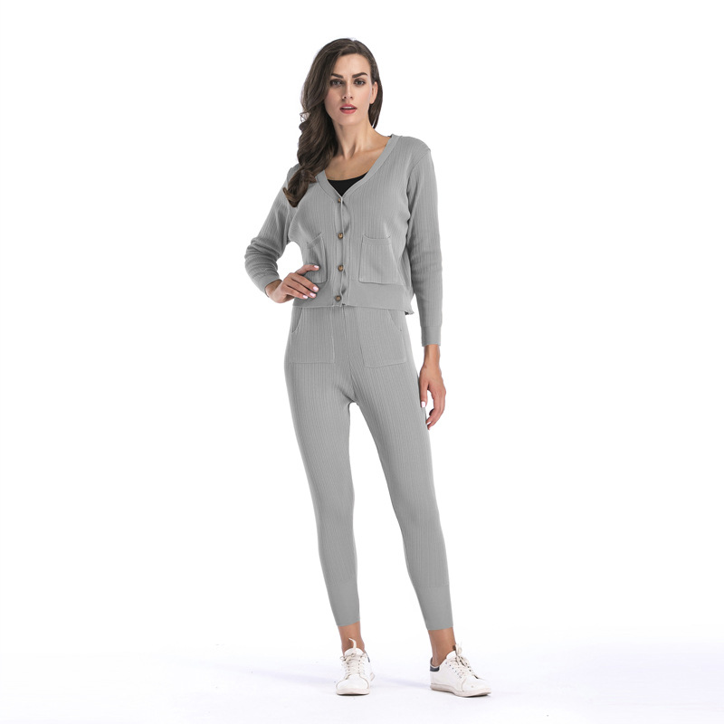 New Fall Winter Sweater Knitted Cardigan Knitted Trousers Women 39 s Sets Casual Long sleeve buttons Knitted 2 Piece Sets Female in Women 39 s Sets from Women 39 s Clothing