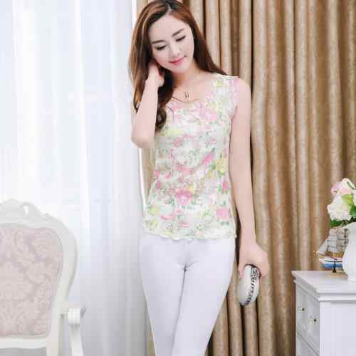 Ropa Women Blouse 2020 Elegant Sexy Sleeveless Ladies Chiffon Lace Blouse Tops Vintage Floral Printed Embroidery Shirts M712