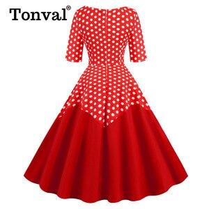 Image 5 - Tonval Two Tone Cotton Half Sleeve A Line Midi Polka Dot Vintage Dress Pinup Women Spring Summer O Neck Casual Swing Dresses
