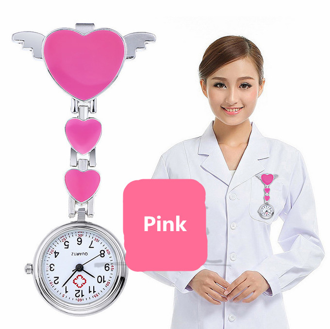 Nurses Watches Doctor Portable Watch Cute Love Heart Quartz Clip-on Fob Nurses Brooch Tunic Pocket Watch
