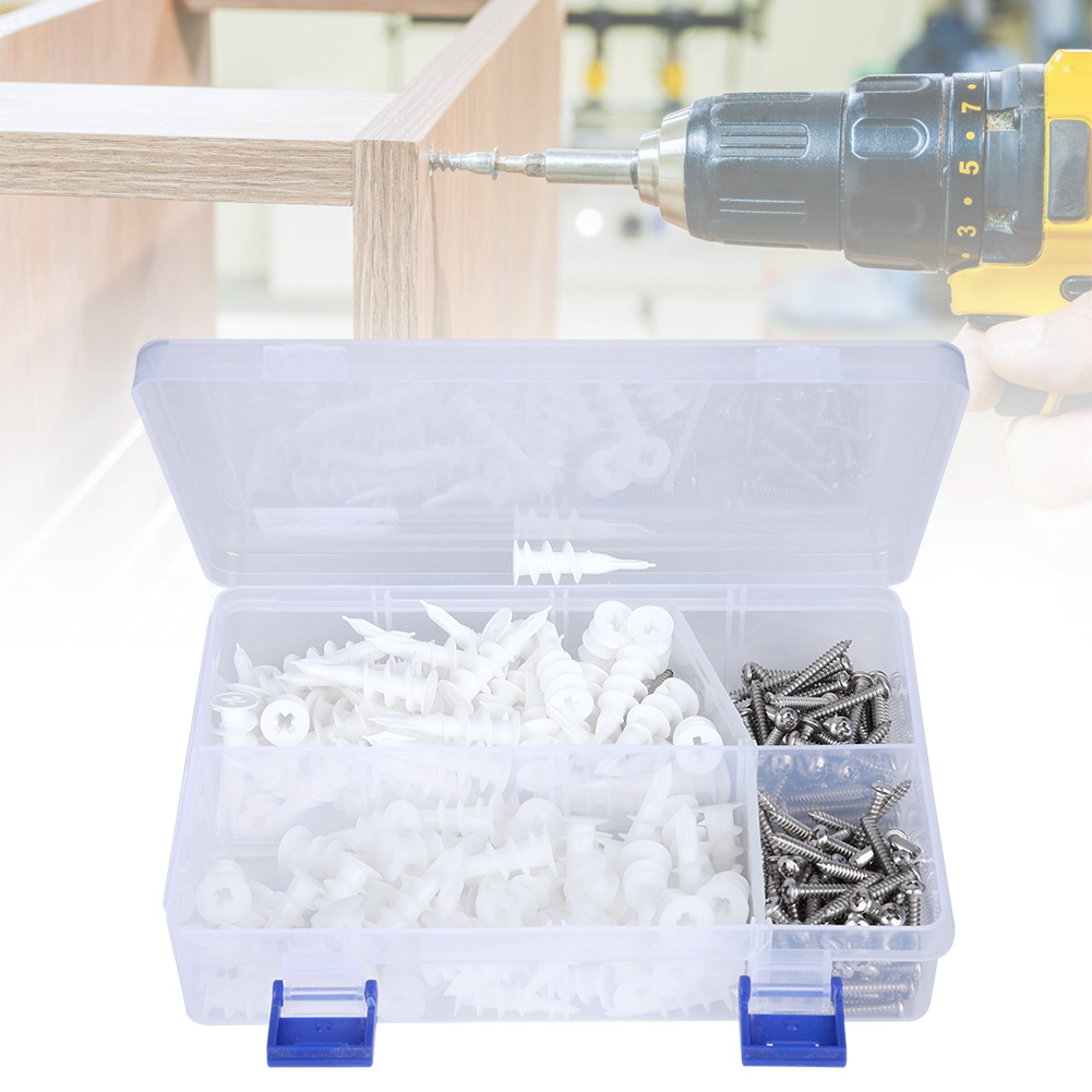 Portable 240pcs Expansion Anchors Nylon 304 Stainless Steel Screw Expansion Screw Set