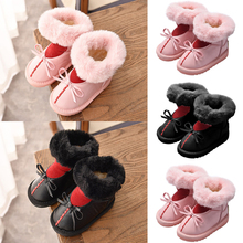 цена на Winter Kids Warm Boots Child Leather Unedged design Sweet Bow Snow Boots No-slip Wear Resistant Fur Lined Warm Ankle Boots D30
