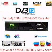 DVB-T2/t sintonizador de tv digital h.265/hevc para itália 10bit receptor de tv terrestre decodificador embutido rj45 suporte youtube ac3 hd áudio,2020 mais novo receptor de TV DVB-T DVB T2 Europa