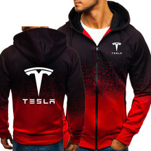 Hoodies Men Tesla Car Logo Print Casual HipHop Harajuku Gradient color Hooded Fl