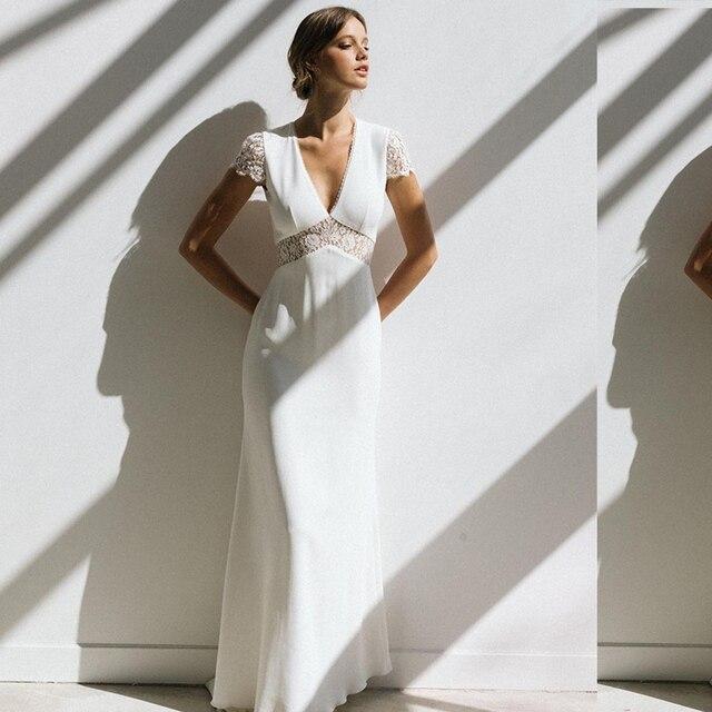 Vintage Boho Wedding Dress Short Sleeve A-Line Backless Lace Court Train Robe De Mariee Stunning Charming For Women Civil Cheap 1