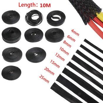 Manguito trenzado aislado negro, 1/5/10/50/M, 2/4/6/8/10/12/15/20/25mm, cubierta de Cable de protección de glándula 2
