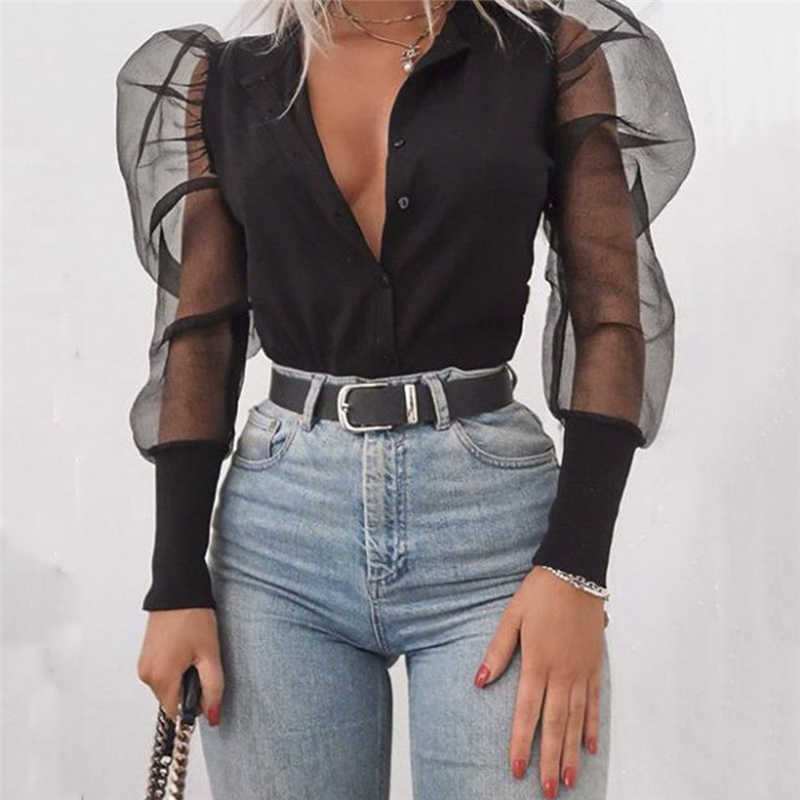 New Fashion 2019 Women V-Neck Blouses Tulle Ruffle Long Puff Sleeve Shirt Solid Lady Blouse Autumn Women Streetwear Tops