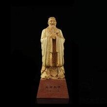 11/15cm de confucio estatua tallado de boj chino-estilo casa decoração de interiores