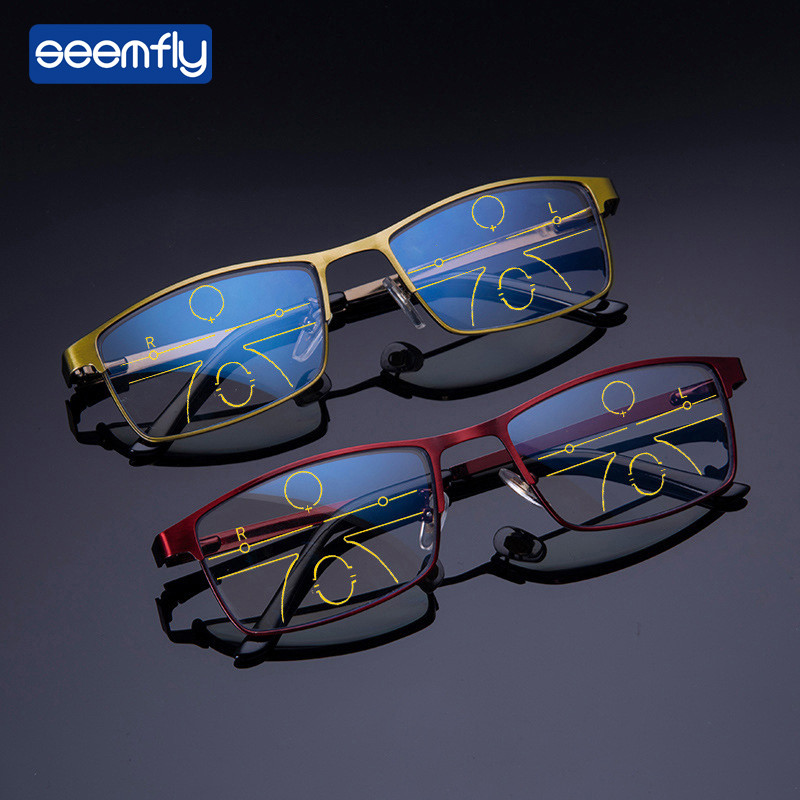 Seemfly Progressive Focus Reading Glasses Myopic Lens Men And Women's Anti-Blue Dual-use Glasses Anti-Radiation Read Glasses