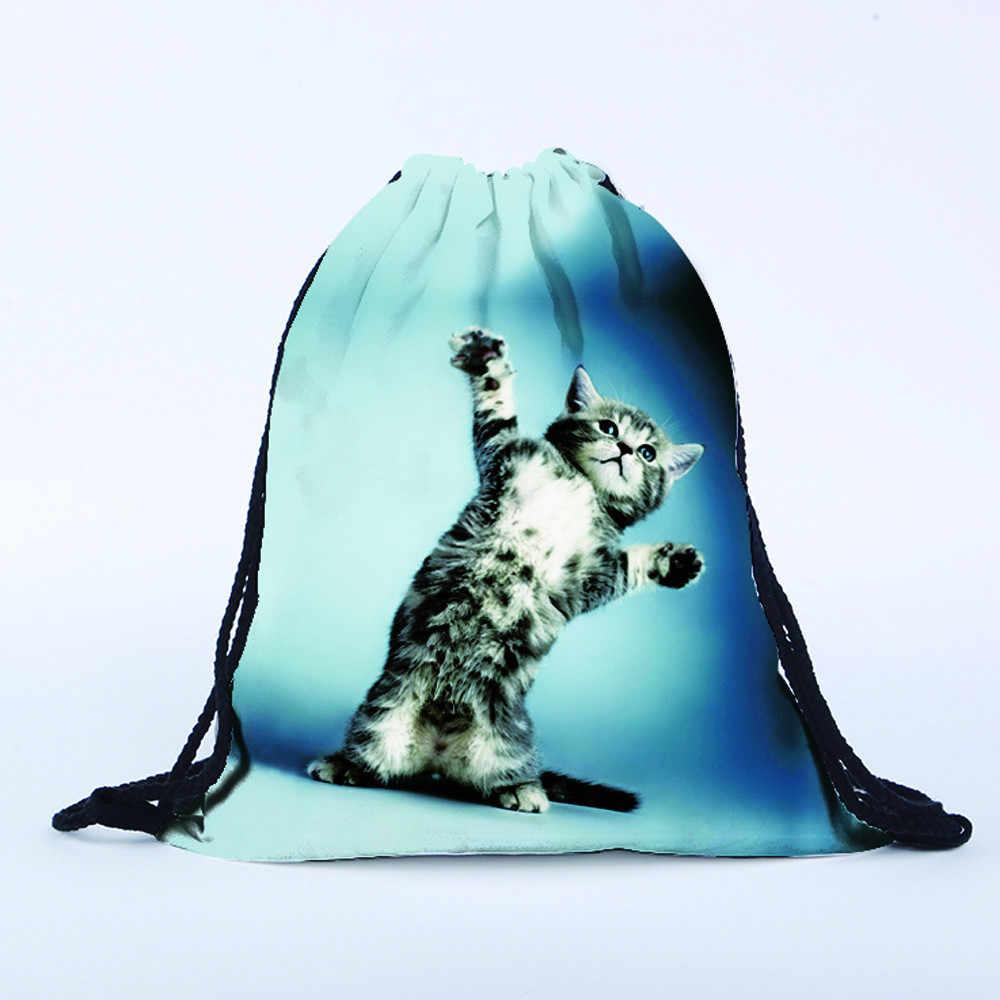 Fashion Cat Backpacks Women Men  3D Printing Bags Cute Drawstring Blue Backpack Girls Drawstring Casual Polyester Handbag Lady